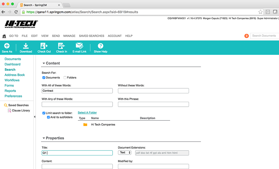 Easily search for contracts with SpringCM